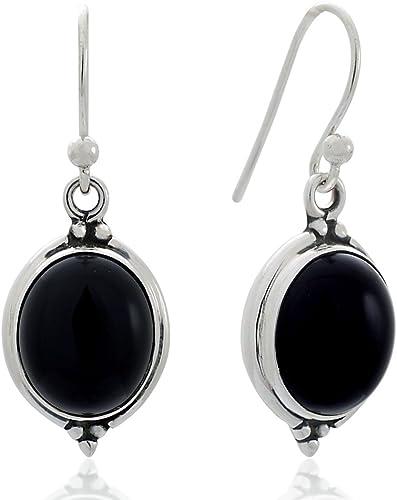 Silver Stone Earring Dangle Earring Black Onyx Earring Teardrop Earring 925 Sterling Silver Fashionable Earring