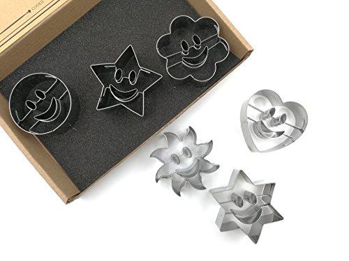 JOKUMO Smiley Cookie Cutters Set – 6 PC High Grade 430 Stainless Steel – Circle, Sun, Flower, Hexagon, Star and Heart
