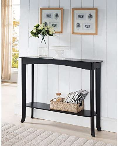 Espresso Finish Wood Veneer Console Table Wood and Veneer Construction Ensure Long-Lasting Use