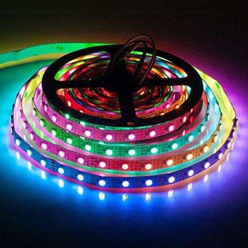 BTF-LIGHTING RGBW RGBWW Warm White SK6812 (Similar WS2812B) 16.4ft 5m 60leds/pixels/m Individually Addressable Flexible 4 color in 1 LED Dream Color LED Strip Non-waterproof DC5V