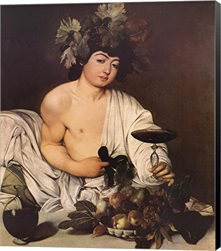 Bacchus by Michelangelo Caravaggio Canvas Art Wall Picture, Museum Wrapped with Black Sides, 17 x 20 (Bacchus Canvas)