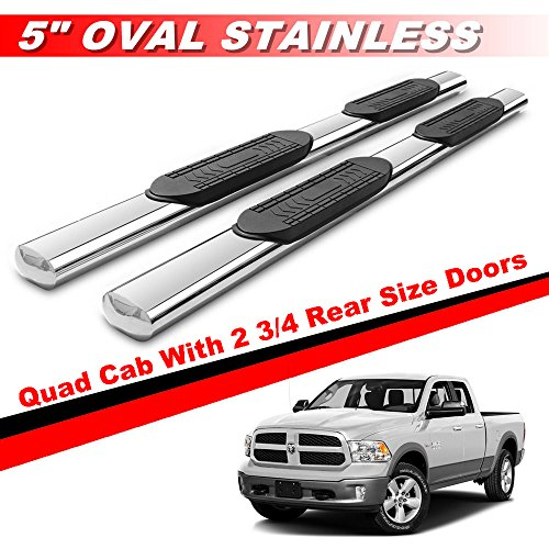 "Mifeier 5"" OVAL S/S Side Step Nerf Bars Running Board For 09-17 Dodge Ram 1500 Quad Cab With 2 3/4 Rear Size Doors"