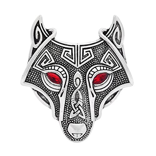 W WOOGGE Viking Norse Wolf Head Brooch Pin Gothic Pendant Irish Viking Penannular Clothes Fasteners Scarf Lapel Pin (Wolf Head(red Eye)) by W WOOGGE