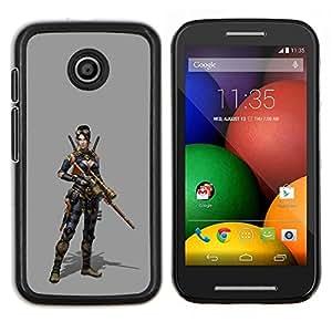 TECHCASE---Cubierta de la caja de protección para la piel dura ** Motorola Moto E ( 1st Generation ) ** --Mujer Pc Juego de caracteres Guerra de combate