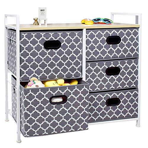(Wide Dresser Storage Tower 5 Drawer Chest, Sturdy Steel Frame, Wood Top, Easy Pull Fabric Bins,Organizer Unit for Bedroom, Playroom, Entryway, Closets, Lantern Printing Gray/White)