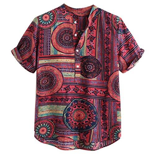 Mens Printed Short Sleeve Henley Shirt Cotton Linen Beach Yoga Loose Fit Henleys Tops
