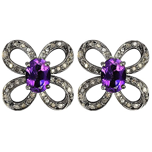(1.71 Ct Purple Oval Amethyst 925 Sterling Silver And Black Rhodium Stud Earrings For Women : Cute And Simple Gift For Mother And Wife)