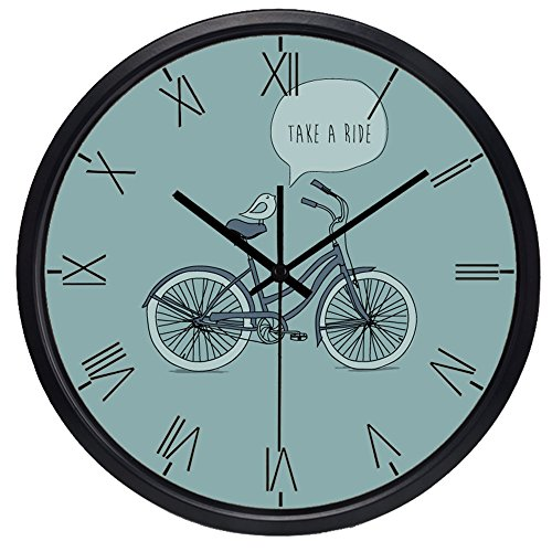 Design Round Metal Wall Clock Non-ticking Quartz Clock(14inch,Black) ()