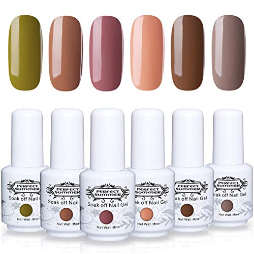 Perfect Summer Gel Nail Polish Set Autumn Fall Winter Series Color - 6 Colors Japan Gel Polish Soak Off UV LED Home Gel Manicure Nail Gel Kit Brown Gray Caramel Green 8ML