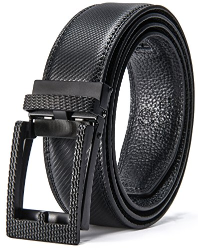 Men's Leather Ratchet Click Belt Custom Fit with Automatic Sliding Buckle in a Gift Box (28'' to 39'' Waist, Fashionable Black Stripe-type Leather Belt)