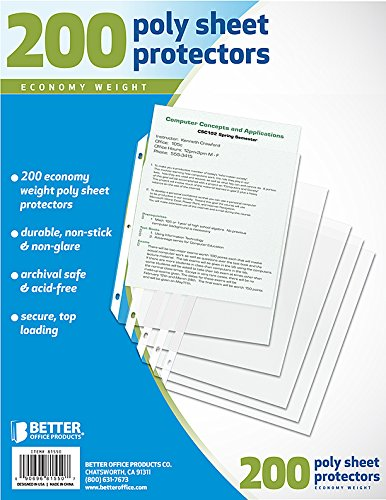 Better Office Products Sheet Protectors, 200 Piece by Better Office Products