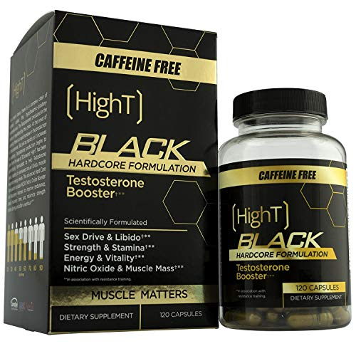 High T Black Caffeine Free, Testosterone Booster Pre Workout Hardcore Formulation - 120 - Free Healing Formula Caffeine