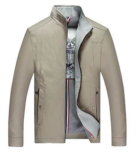 Liveinu Men's Stand Collar Lightweight Slim Jacket Coat Khaki XL