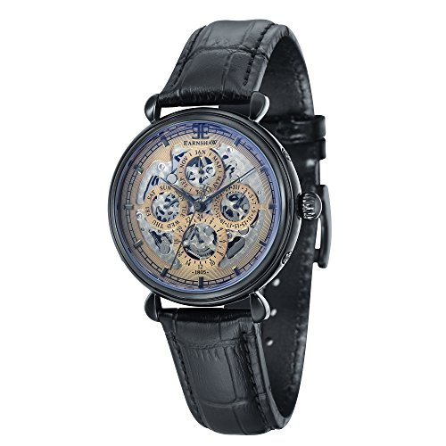 Thomas Earnshaw Men's 'GRAND CALENDAR' Automatic Stainless Steel and Leather Dress Watch, Color:Black (Model: ES-8043-06)