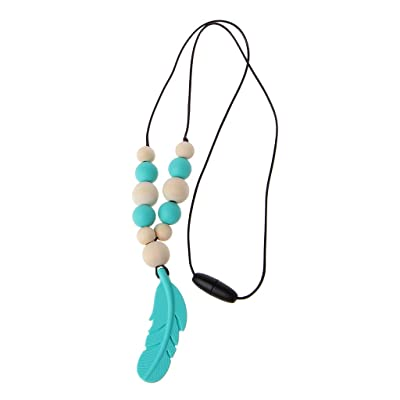 Thobu Baby Infant Silicone Feather Jewelry Teething Necklace Baby Nursing Chewing Toys Lake Blue : Baby
