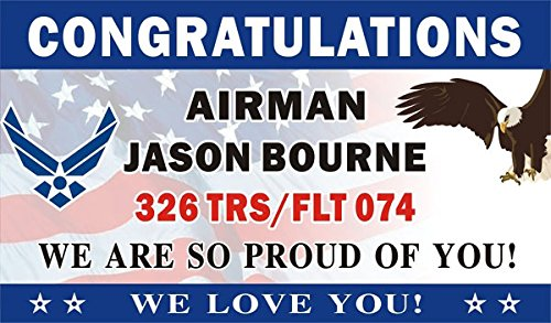 3ftX5ft Personalized Congratulations Airman U.S. (US) Air Force Basic Military Training Graduation Banner Sign (Flag BG)