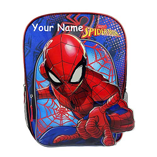 Personalized Marvel Spider-Man Superhero Molded Front Print Backpack Book Bag for Back to School with Custom Name