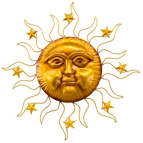 (Gold Sun Face with Stars on Rays Wall Art)