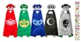 Uunic PJ Masks Costumes 5 Capes and Masks for Catboy Owlette Gekko Romeo Luna Girl