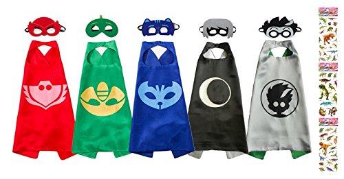 Uunic Pj Masks Costumes 5 Capes And Masks For Catboy Owlette Gekko Romeo Luna Girl