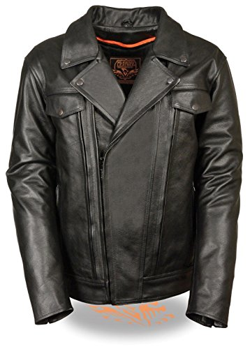 MEN'S MOTORCYCLE BLK PISTOL PETE UTILITY LEATHER JACKET WITH LONG VENTS ZIP OUT (2XL (Pistol Pete Motorcycle)