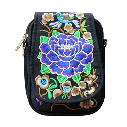 Profusion Circle Womens Embroidered Flower Cross Body Bag Small Crossbody Phone Bag Pouch Ethnic Style Shoulder Bag Purple