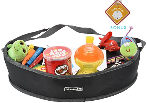 Soft Travel Tray - Alphabetz Car Seat Kids Activity Travel Tray, Black