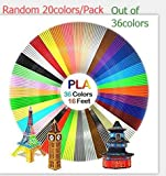 JUXU 3d Pen Filament Refills - PLA filament 1.75mm |Random 20 Colors Out of 36 Colors, 33ft Each, 660 Feet Total