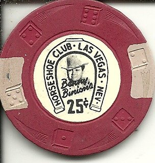 .25 cent binions horseshoe club las vegas casino chip vintage obsolete red