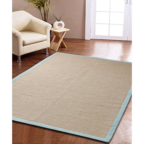 Jute Border Rug (Affinity Home Collection Eco Natural Cotton Border Jute Rug (5' x 8') - 5' x 8' aqua Natural)