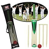 Junior Cricket Wooden Set Kids Size 3 Wickets Bat Ball Stumps Outdoor Garden Toy
