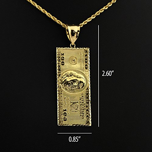 LoveBling 10K Yellow Gold Hundred Dollar Bill Diamond Cut Charm Pendant (2.60'' x 0.85'') by LOVEBLING (Image #5)