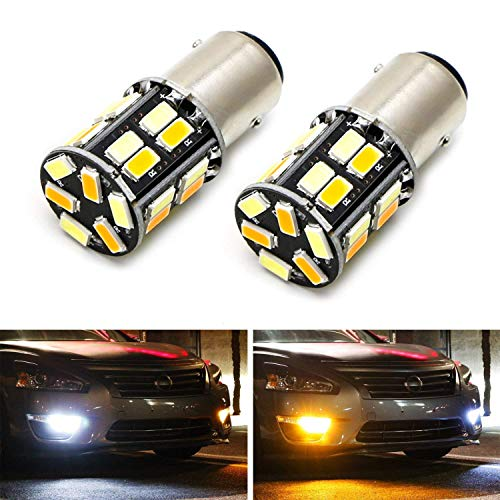 Xenon Dual Filament Lamp - iJDMTOY (2) 26-SMD Diodes White/Amber Dual Color Switchback 1157 2357 7528 S25 LED Bulbs For Front Turn Signal Lamps