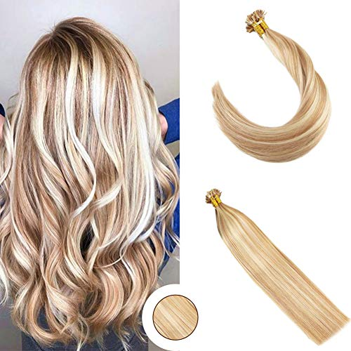 Ugeat 20 inch Flat Tip Hair Extensions in Blonde Highlight