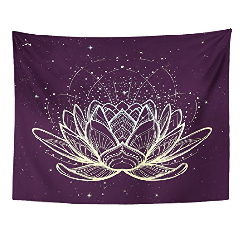 Tapestry Lotus Flower Intricate Linear Drawing on Starry