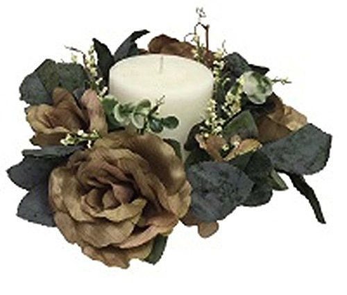 - Artificial Garden Candle Ring SAGE Green Roses Silk Flower Floral Arrangements Wedding Flowers Unity Candle Centerpieces