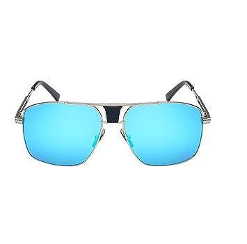 HAOYUXIANG Art Und Weise Helle Farbe Reflektierende Sonnenbrille Quadratische Männliche Modelle Krötenspiegel,SilverFrameMercury