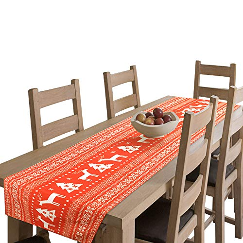 Amsper Christmas Table Runner, Machine Washable Printed Fabric Table Lines Decoration with Christmas Reindeer and Tree for Holiday Season Home Table Decor ()
