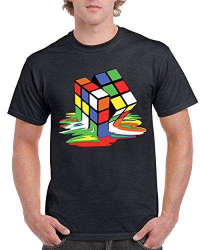 Rubik's Cube Melting The Big Bang Theory Men's T-Shirts Round NeckTee Shirts for Men(Black,Medium) by Camalen