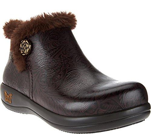 Image of Alegria Womens Meri Synthetic Fur Rain Boot Molasses Tooled Size 37 W EU (7-7.5 W US Women)