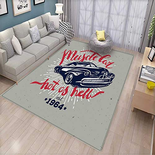 (Cars Girls Bedroom Rug Hot as Hell Muscle Car Quote Classic Vintage Sports Car in Navy Blue Bath Mats for Floors Navy Blue Red Pale Grey)