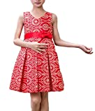 YUNY Girl's Bowknot Party Printed Sleeveless Wedding Holiday Dress Red 120cm