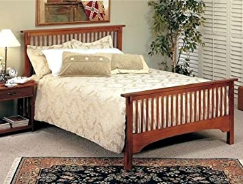 Mission Style Oak Finish Queen Size Bed Headboard and Footboard