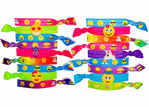 (No Crease Hair Ties for Little Girls - Cute Emoji Printed Ponytail Holders (18 Pack) | Colorful Hair Bands Ribbons Accessories for Kids - Elastic Stretchy | Great Party Favors)