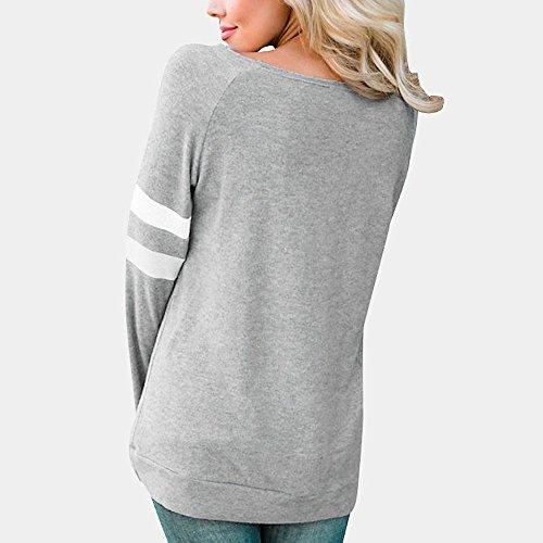 Chemisier Rond des Loisirs Dcontract Tops Col Femme Blouse Automne Gris Lache Chemises pissage T Vest Chic Manches Lady Casual V Shirt Longues Col Xv11wH8q