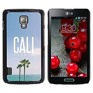 Be Good Phone Accessory // Dura Cáscara cubierta Protectora Caso Carcasa Funda de Protección para LG Optimus L7 II P710 / L7X P714 // California palm trees summer sky sun