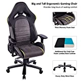 KILLABEE Big and Tall 440lb Memory Foam Gaming Chair with Gel Cold Cure Foam Lumbar/Seat Cushion, 4D Arms and Heavy Duty Metal Base, Black&Brown