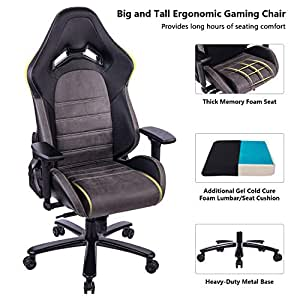 killabee big and tall 440lb memory foam gaming chair with gel cold cure foam lumbar. Black Bedroom Furniture Sets. Home Design Ideas