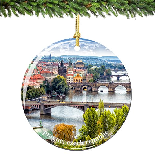 - City-Souvenirs Prague Czech Republic Christmas Ornament, Porcelain 2.75 Inch Prague Christmas Ornaments