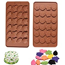 (48 Cavity )Leaf and Flower Silicone Candy Mold Ice Cube Trays Chocolate Mold Cake Décor Kit
